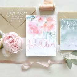 watercolor wedding invitations watercolor invite suite with pink peonies wedding invites stationery photos brides