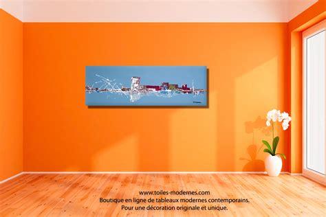 peinture mur chambre à coucher tableau panoramique bleu gris evolution moderne