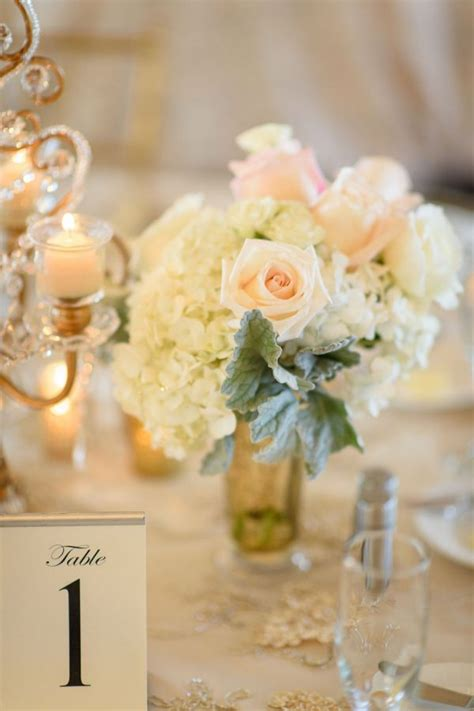 White Blush Pink and Gold Wedding Centerpieces with
