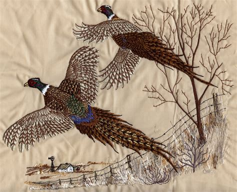 pheasant scene  embroidery design  country design