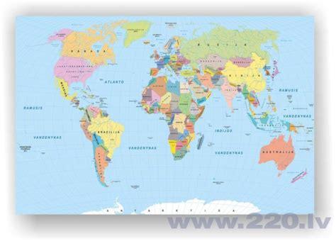 Korķa materiāla attēls - Pasaules karte. Lietuviešu valoda. [Korķa materiāla karte], 100x70 cm ...