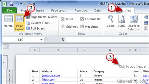 how to add a header and footer to excel 2010 spreadsheets gilsmethod com