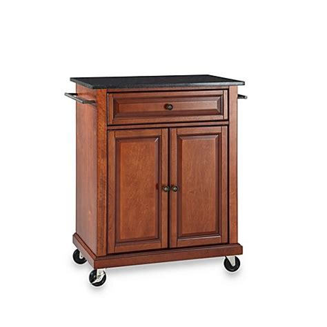 Crosley Black Granite Top Rolling Portable Kitchen Cart