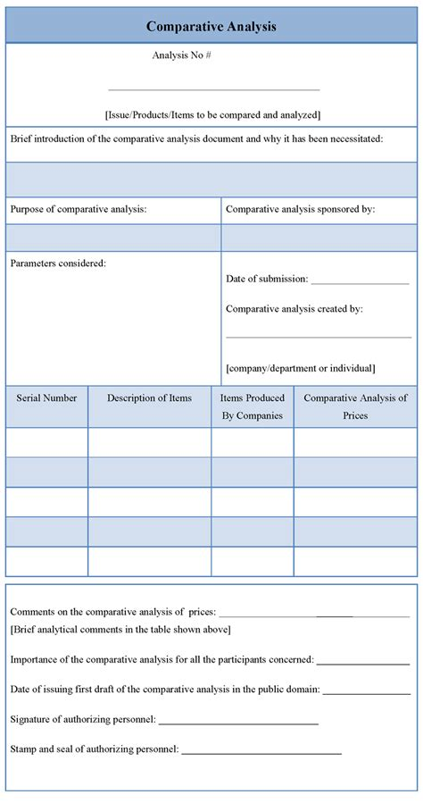 comparative analysis template comparative analysis template sle templates