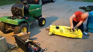 John Deere 170 Installing Mower Deck Parts - Time Lapse