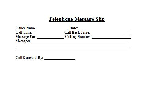 telephone message templates word excel  formats