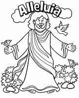 Coloring Jesus Reborn Christ Alleluia Sheet Easter sketch template