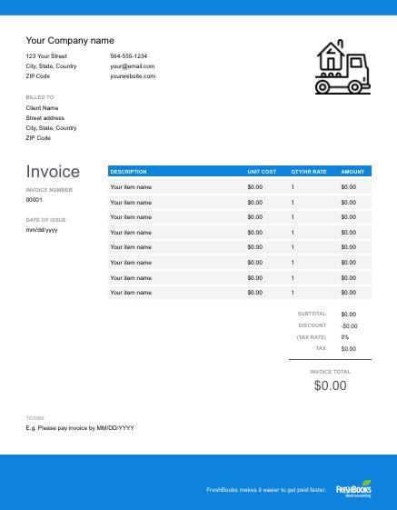 moving company invoice template   send