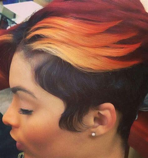 ombre orange  burgundy dyed sassy short haircut