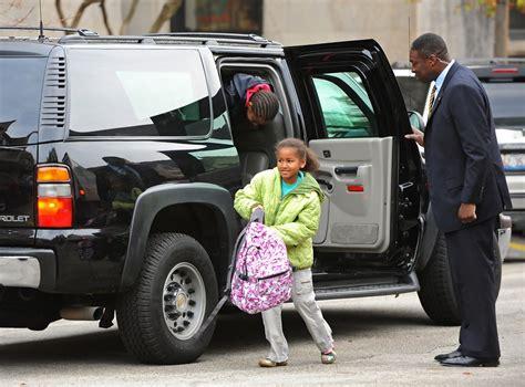Malia Obama In Obama Daughters Are Dropped Off At School 3