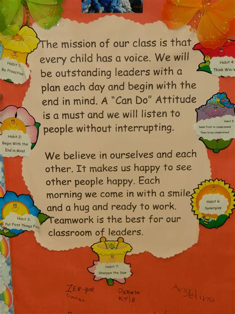 classroom mission statement that includes the leadership 123 | b007caaefcca572081ab4e777a61f007