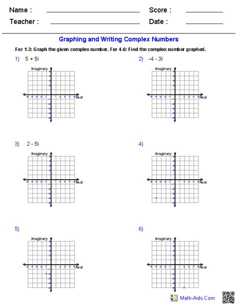 graphing complex numbers worksheets quadratics
