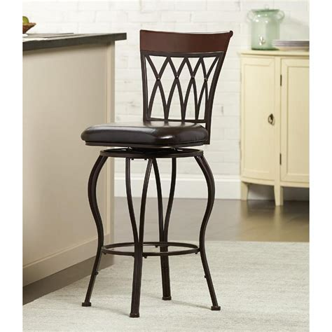 home decorators collection metal swivel bar stool with square cushion in brown cnf1561