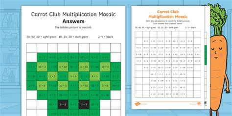 Carrot Club 2, 5 And 10 Multiplication Mosaic Worksheet  Originals, Fiction