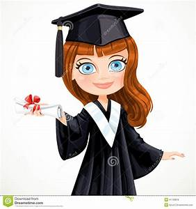 Diploma Graduating Student Girl Stock Vector ...