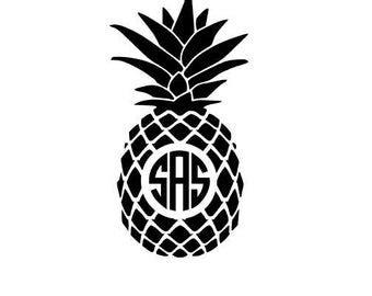monogram pineapple etsy