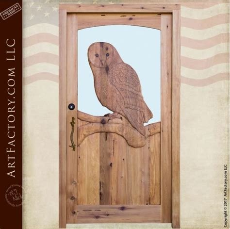 hand carved american owl glass entry door