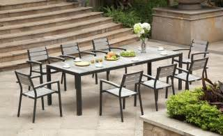 black outdoor dining table nfow with small patio furniture