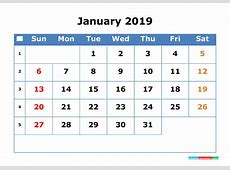 Printable Calendar 2019 January with Week Number 2018