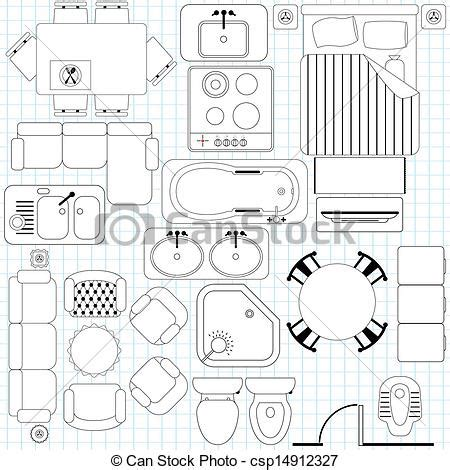 simple furniture floor plan royalty  eps vector