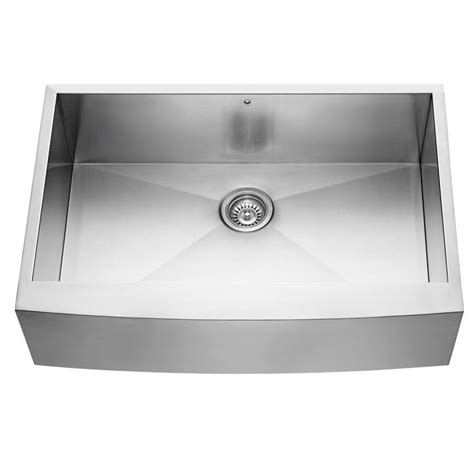 stainless steel farmhouse sink lowes shop vigo 33 in x 22 25 in stainless steel single basin