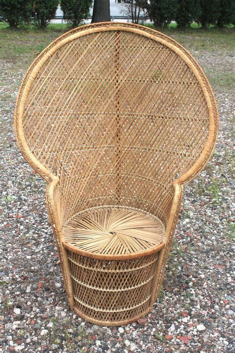 vintage 70 quot s peacock fan high back rattan wicker chair