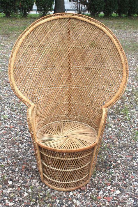 Oversized Wicker Papasan Chair by Vintage 70 Quot S Peacock Fan High Back Rattan Wicker Chair