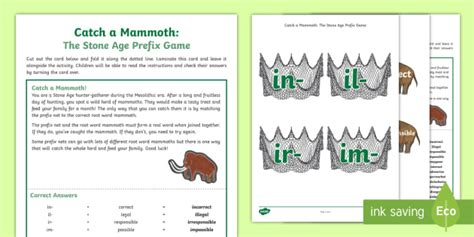 * New * Lks2 Catch A Mammoth The Stone Age Prefix Game  Matching, Root