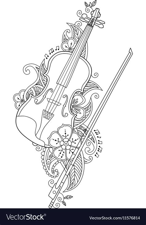 coloring page violin  bow  flowers vector image