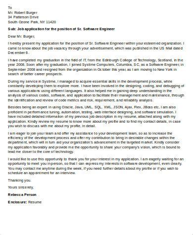senior software engineer cover letter 28 images software