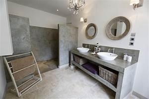 Beton Ciré Salle De Bain Sur Carrelage : salle de bain beton cire blanc evtod ~ Preciouscoupons.com Idées de Décoration