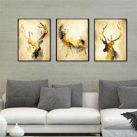 triptych nordic abstract gold deer elk canvas painting