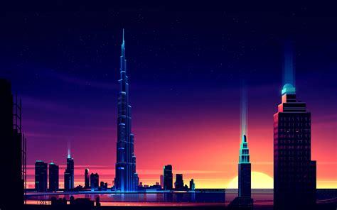 Dubai Burj Khalifa Minimalist, Hd Artist, 4k Wallpapers