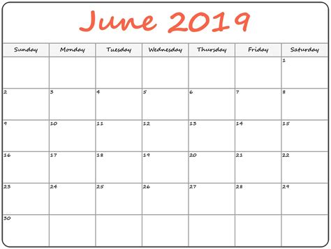editable june calendar template printable