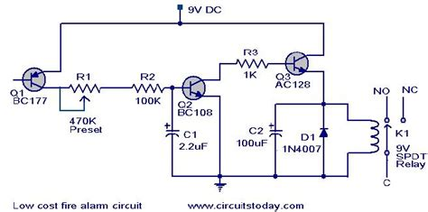 Low Cost Fire Alarm Circuit Working Scematic