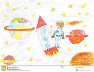 Astronaut Space Rocket Drawing