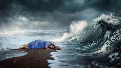 women waves lying  blue dress dark hair digital