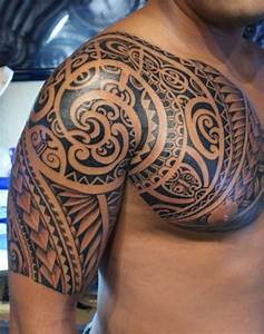 Samoan Tribal Tattoo On Half Sleeve And Chest For Men
