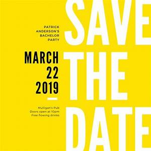 yellow black modern bold bachelor save the date invitation With business save the date templates free