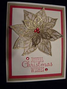 paper flower workshop handmade christmas card poinsettia gold embossed on