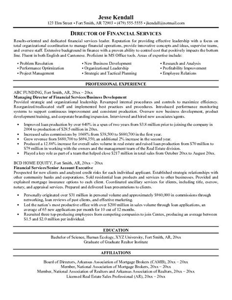 financial objectives exles for resume exle director of financial services resume free sle