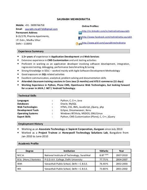 Resume Of An Experienced Software Engineer by Sle Resume Software Engineer 2 Years Experience 3