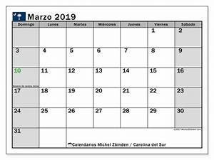 Calendario marzo 2019, Carolina del Sur