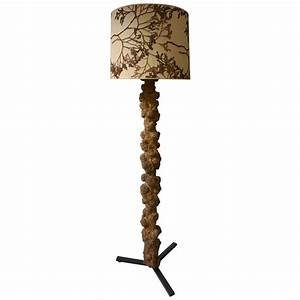 unique and highly decorative congolese hardwood tree trunk With tree stump floor lamp