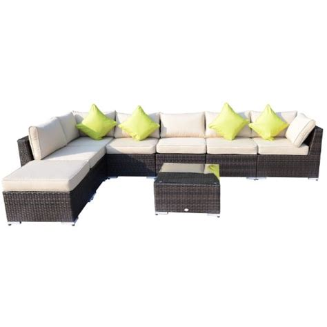 outsunny 8pc rattan sofa garden furniture aluminium