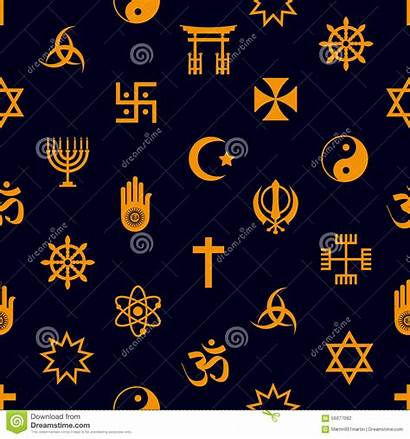 Religions Symbols Icons Vector Seamless Pattern Eps10