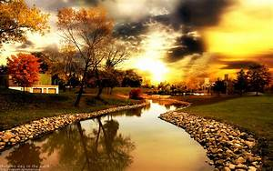 Free HQ Autumn river sunset Wallpaper - Free HQ Wallpapers