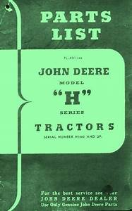 John Deere H Hn Hnh Hwh Tractor Parts List Manual H1000
