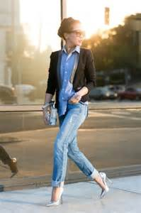 Boyfriend Jeans with Denim Shirt