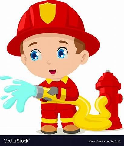 Firefighter Fireman Clipart Vector Kid Vectorstock Cartoon